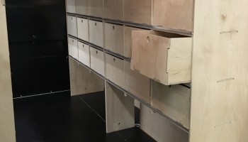 Drawer style internal van racking