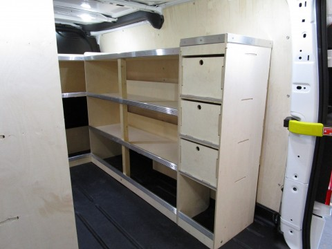 Internal van racking shelves in van